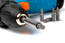 Screwdriver Bit Fixed In Drilling Machine Chuck, Macro, Shallow Depth Of Field