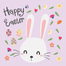 Happy Easter Bunny. Vector Illustration For Easter Greeting Card.