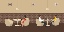 People In The Restaurant. A Man And A Woman Are Sitting At A Table, At Another Table - One Girl. Interior Of A Cafe With White Furniture On A Brick Wall Background. Vector Illustration.