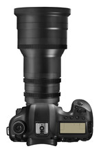 Professional DSLR Camera With Long Telephoto Lens Isolated On White