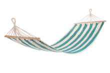 A Multi-colored Hammock Made From Natural Fabric Hanging On Ropes, White Background