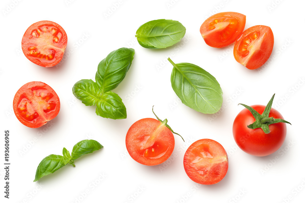 Fototapety, obrazy: Tomatoes and Basil Leaves Isolated on White Background