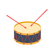 Drum. Icon, Vector Illustration.