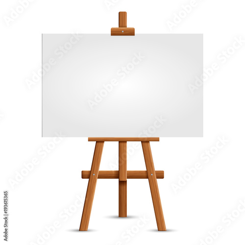 Photo  Blank art board and realistic wooden easel
