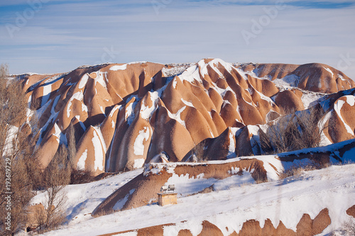 Deurstickers Nasa View of Valley in winter season, Cappadocia national park, Turkey