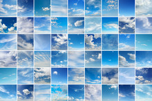 Large Collage With Clouds - Cumulus, Cirrus, Rain, Clear Sky