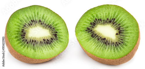 Slice of kiwi isolated on white background