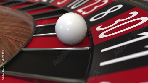 Casino roulette wheel ball hits 30 thirty red. 3D rendering Wallpaper Mural