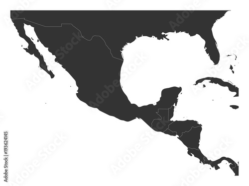 Blank political map of Central America and Mexico. Simple dark grey vector illustration.
