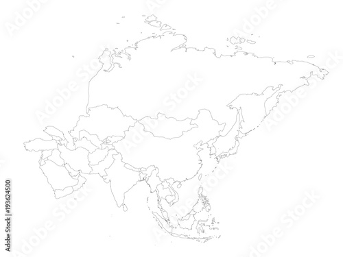 Political Outline Map Of Asia.Blank Political Outline Map Of Asia Continent Vector Illustration