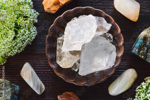 Valokuvatapetti Lunar Stones on Dark Table