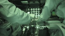 Pilots Hands Control The Throttle Inside Stratotanker During NATO's Exercise