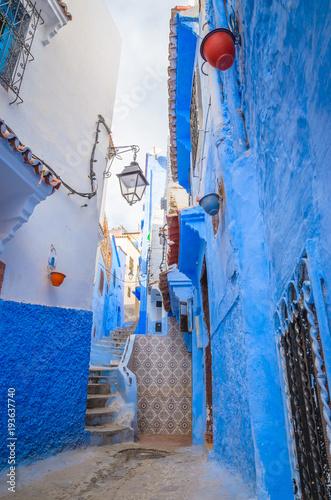 Foto op Plexiglas Trappen Beautiful street of blue medina in city Chefchaouen, Morocco, Africa.