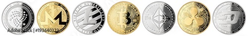 Photo  crypto currency coin set collection gold silver bitcoin ethereum monero litecoin