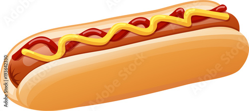 Tablou Canvas Hot Dog with Ketchup and Mustard Vector Illustration
