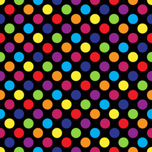 Seamless Colorful Polka Dot Pattern On Black. Vector Illustration.