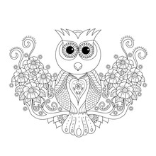 Coloring Book Of Owl For Adult...