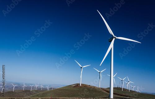 Fototapeta Power turbine wind mills on rolling hills obraz