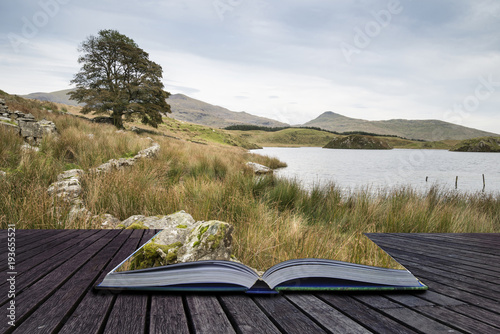 Recess Fitting Khaki Evening landscape image of Llyn y Dywarchen lake in Autumn in Snowdonia National Park