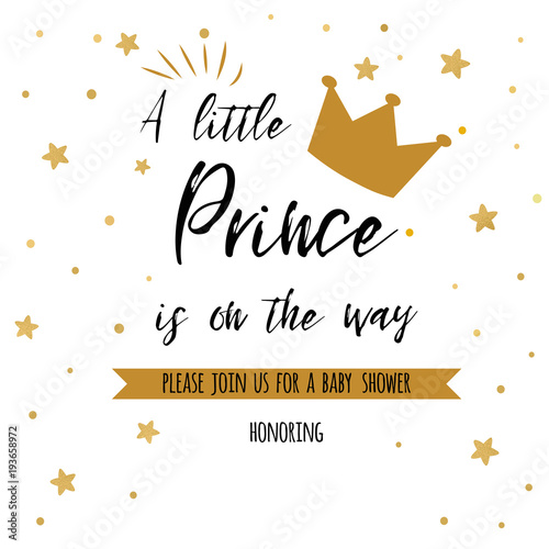 Fotografie, Obraz Text a little prince is on the way with gold stars, golden crown