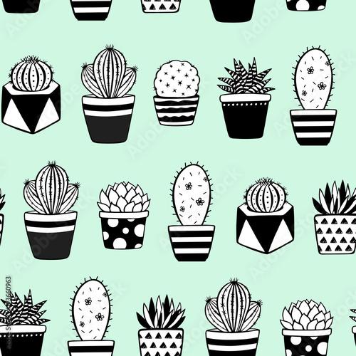 wektor-wzor-recznie-rysowane-rosliny-w-doniczkach-na-zielonym-tle-dekorujacy-kaktusa-i-sukulentow-wektoru-tlo-pedzel-narysowany