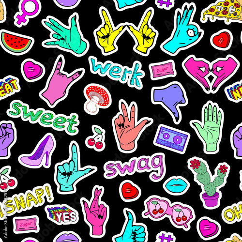 Seamless pattern with fashion patches, slang words, phrases