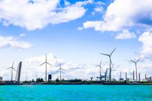 View On Windmills In The Port Of Antwerp - Belgium