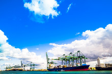 View On Cargo Cranes And Ships In The Port Of Antwerp
