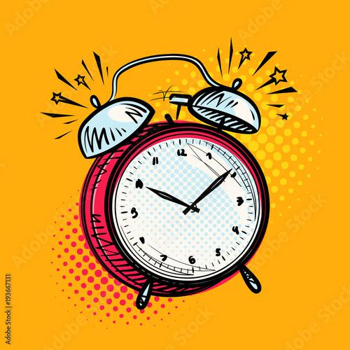 Fotobehang Pop Art Alarm clock is ringing, wake-up call. Reminder, deadline concept. Vector illustration