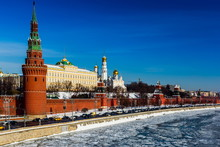 Kremlin And Ivan Great Bell Tower At Winter In Moscow, Russia