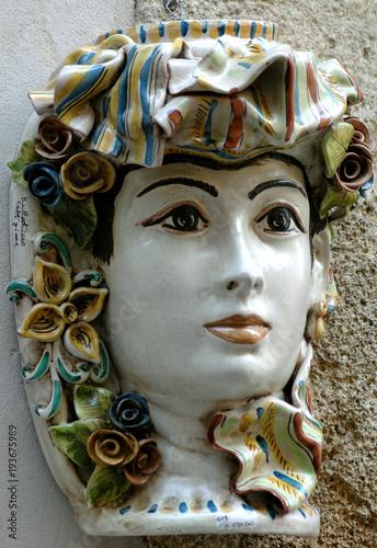 Fototapety, obrazy: Caltagirone (Sicile)  tête en Céramique, Europe