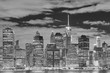Black and white picture of the Manhattan at night, New York City, USA.
