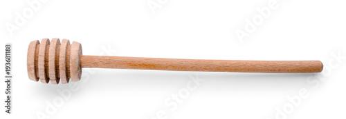 Wooden honey dipper on white background Poster Mural XXL