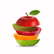 Creative healthy mix fruit. Apple, Orange, Pomegranate and kiwi with sliced fresh fruit, for a low calorie snack, isolated on white background, vector and illustration.