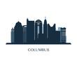 Columbus skyline, monochrome silhouette. Vector illustration.