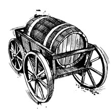 Wooden Barrel On Wagon Cart. Hand Drawn Vintage Illustration In Engraved Ink Style. Good For Labels, Posters, Logos.