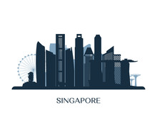 Singapore Skyline, Monochrome Silhouette. Vector Illustration.