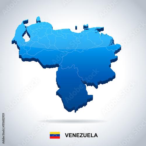 Fotografía  Venezuela - map and flag - Detailed Vector Illustration