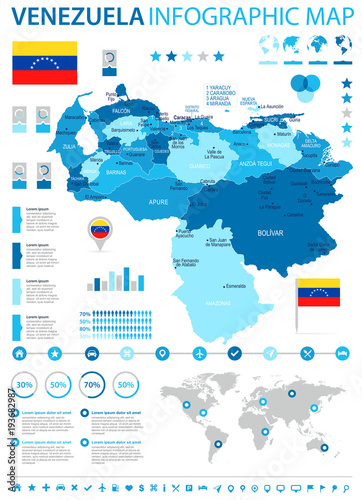 Fotografie, Tablou  Venezuela - infographic map and flag - Detailed Vector Illustration