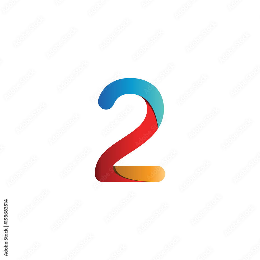 Fototapeta Colorful number 2 logo icon template vector
