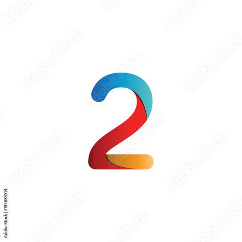 Fototapeta Colorful number 2 logo icon template vector obraz