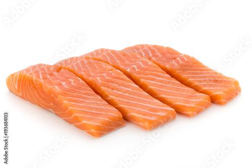 Cuadros en Lienzo Fresh salmon fillet with basil on the white background.