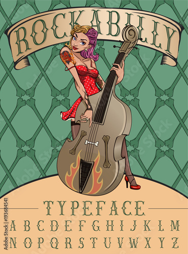 Rockabilly typeface poster Canvas Print