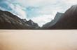 Leinwanddruck Bild - Horseid sandy beach in Norway mountains Landscape Lofoten islands wild scenic view Summer Travel scandinavian wild nature scenery minimal style