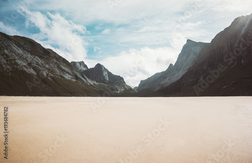Staande foto Grijze traf. Horseid sandy beach in Norway mountains Landscape Lofoten islands wild scenic view Summer Travel scandinavian wild nature scenery minimal style