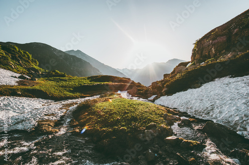 Tuinposter Landschappen Morning sun light over river in mountains spring Landscape Travel wild nature