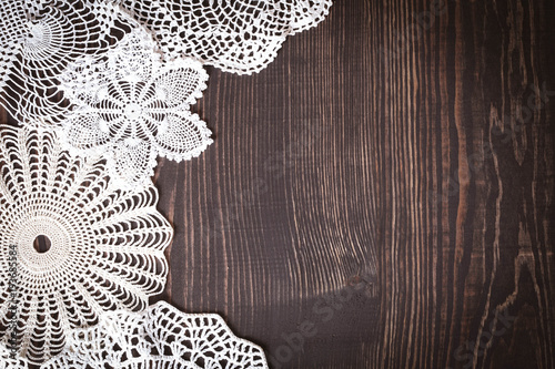 Fényképezés  Vintage background with white crochet lace
