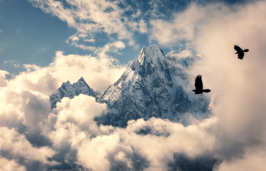 Fototapeta Do salonu Two flying birds against majestical Manaslu mountain with snowy peak in clouds in sunny bright day in Nepal. Landscape with beautiful high rocks and blue cloudy sky. Nature background. Fairy scene