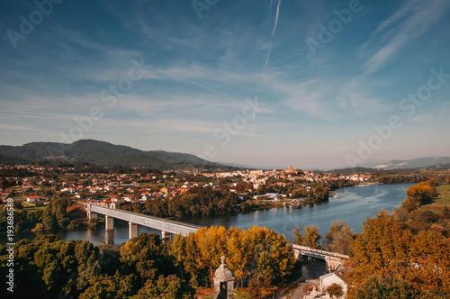 Valokuvatapetti Landscape of International Bridge of Tui and Valença