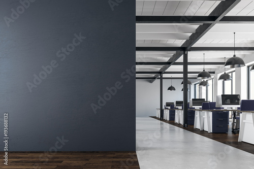 Contemporary coworking office with copy space
